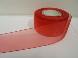 Poppy bright Red Sheer organza ribbon, 2, 10 or 25 metre roll, Double sided 3mm 9mm 15mm 25mm 40mm